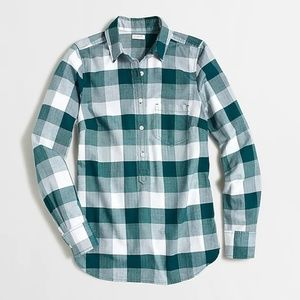JCrew Herringbone Check Flannel Popover Shirt